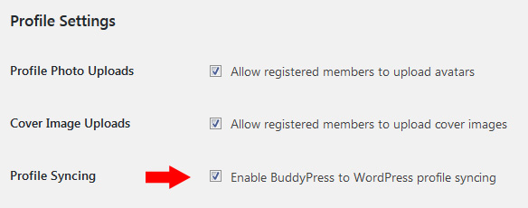 BuddyPress Profile Syncing
